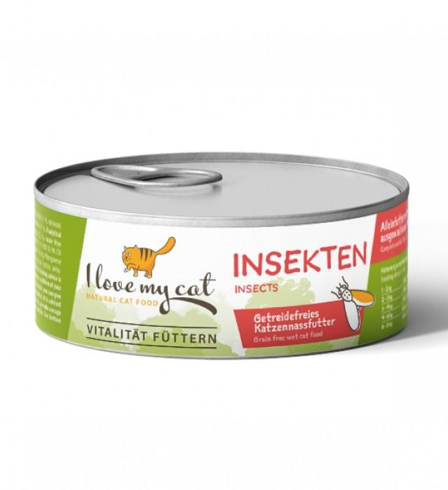Nassfutter für Katzen mit Insekten
